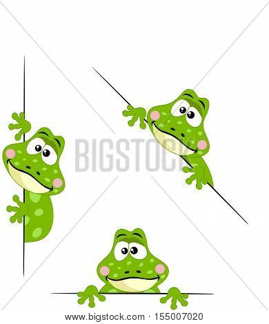 Scalable vectorial image representing a frog peeking from behind in various positions, isolated on white.