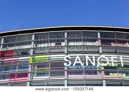 Lyon, France - October 22, 2016: Sanofi building and office. Sanofi is a French multinational pharmaceutical company headquartered in Gentilly, France