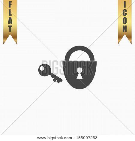 Padlock and key. Flat Icon. Vector illustration grey symbol on white background with gold ribbon