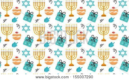 Hanukkah seamless pattern. Hanukkah background with Menorah Sufganiyot Dreidel. Happy Hanukkah Festival of Lights Feast of Dedication seamless texture. Vector illustration
