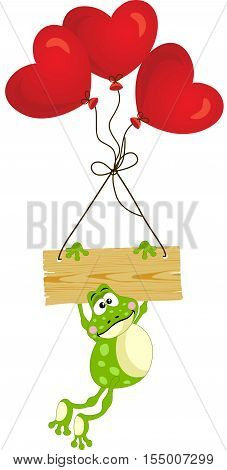 Scalable vectorial image representing a frog with wooden sign and heart balloons, isolated on white.
