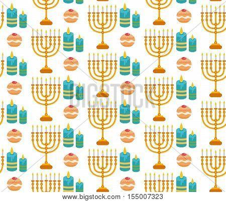Hanukkah seamless pattern. Hanukkah background with Menorah Sufganiyot candles. Happy Hanukkah Festival of Lights Feast of Dedication seamless texture. Vector illustration