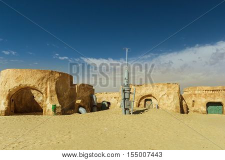 NEFTA TUNISIA - SEP 19 Original movie scenery for Star Wars A New Hope near Nefta city in the Sahara desert Tunisia September 19 2016