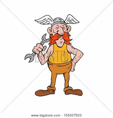 Illustration of a viking repairman standing holding spanner with one hand and the other hand on hips facing front set inside on isolated white background done in cartoon style.