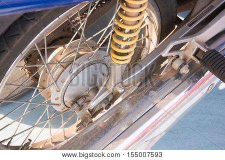 Rear motorcycle disc brake . Bike Shock
