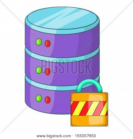 Data storage security icon. Cartoon illustration of data storage security icon for web design