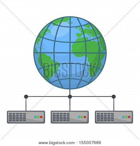 Global storage network icon. Cartoon illustration of clobal storage vector icon for web design