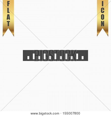 Straightedge. Flat Icon. Vector illustration grey symbol on white background with gold ribbon