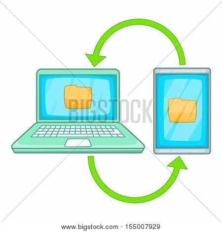 Mobile data synchronization icon. Cartoon illustration of data synchronization vector icon for web design