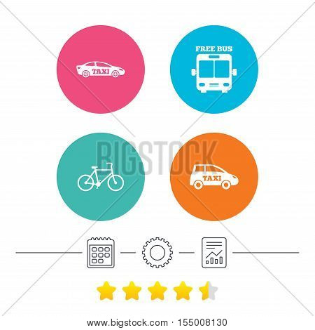 Public transport icons. Free bus, bicycle and taxi signs. Car transport symbol. Calendar, cogwheel and report linear icons. Star vote ranking. Vector