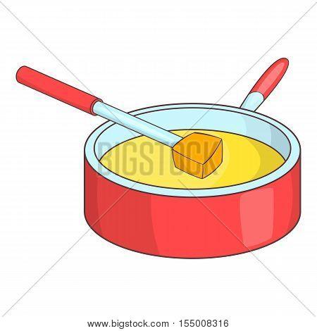 Cheese fondue icon. Cartoon illustration of fondue vector icon for web design