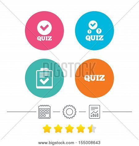 Quiz icons. Checklist with check mark symbol. Survey poll or questionnaire feedback form sign. Calendar, cogwheel and report linear icons. Star vote ranking. Vector
