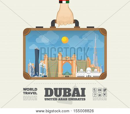 Hand Carrying Dubai Landmark Global Travel And Journey Infographic Bag. Vector Design Template.vecto