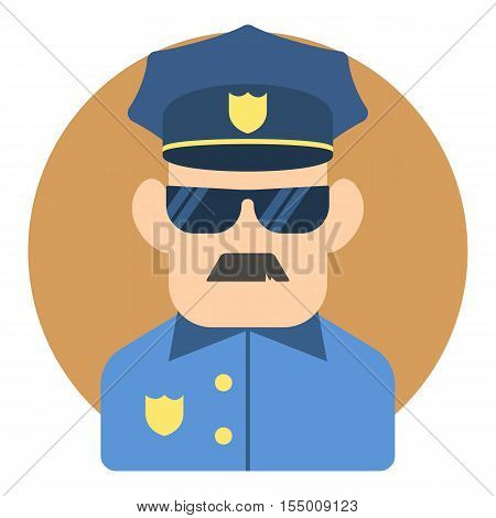 Policeman icon. Flat illustration of policeman vector icon for web