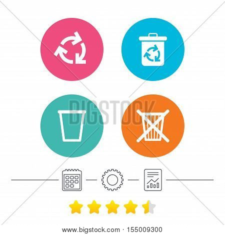 Recycle bin icons. Reuse or reduce symbols. Trash can and recycling signs. Calendar, cogwheel and report linear icons. Star vote ranking. Vector
