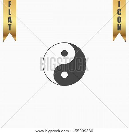 Ying yang symbol of harmony and balance. Flat Icon. Vector illustration grey symbol on white background with gold ribbon