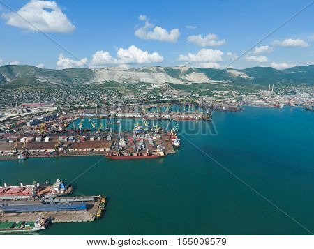 Industrial Seaport, Top View. Port Cranes And Cargo Ships And Barges. Loading And Shipment Of Cargo