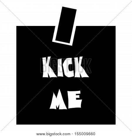 Inscription kick me icon. Simple illustration of inscription kick me vector icon for web