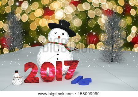 3D Rendering : 2016-2017 Change Represents Light Bokeh Number And Snow Man Doll On Perspective Snows