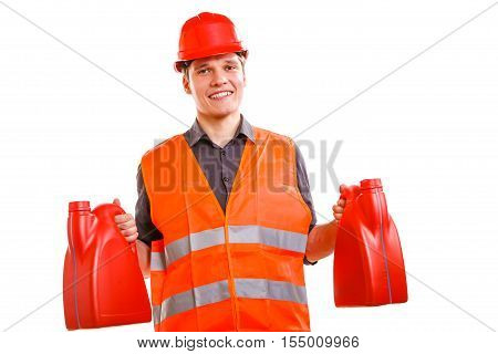 Job and work concept. Young handsome worker wearing orange uniform safety vest with oil gas fuel. Repairman inspector isolated on white.