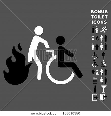 Fire Patient Evacuation icon and bonus male and female lavatory symbols. Vector illustration style is flat iconic bicolor symbols, black and white colors, gray background.
