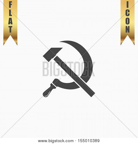 Hammer and sickle. Flat Icon. Vector illustration grey symbol on white background with gold ribbon