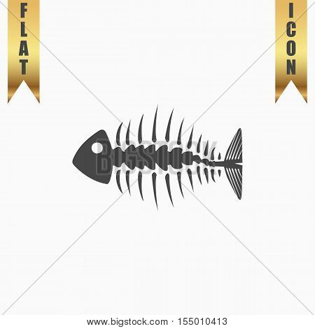Fishbone. Flat Icon. Vector illustration grey symbol on white background with gold ribbon