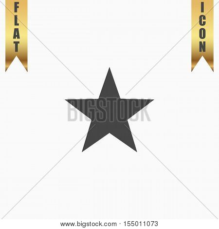 Clasic star. Flat Icon. Vector illustration grey symbol on white background with gold ribbon
