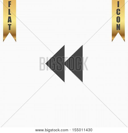 Rewind back. Flat Icon. Vector illustration grey symbol on white background with gold ribbon