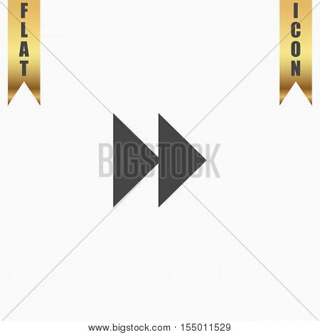 Rewind forward. Flat Icon. Vector illustration grey symbol on white background with gold ribbon