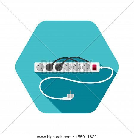 Vector hexagon icon of modern electric extension cord with shadow on the turquoise background.