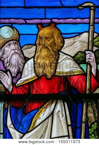 Moses - Stained Glass In Mechelen Cathedral