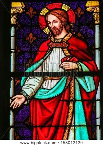 Jesus Christ - Stained Glass In Mechelen Cathedral