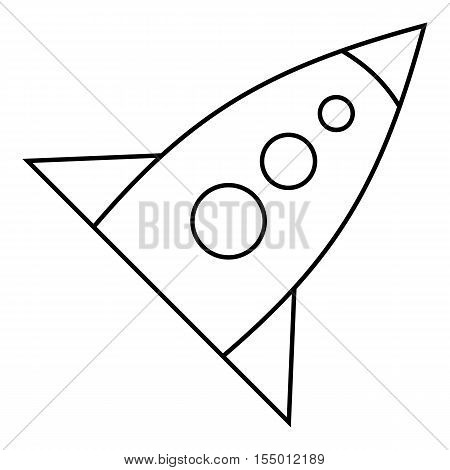 Rocket with three portholes icon. Outline illustration of rocket with three portholes vector icon for web