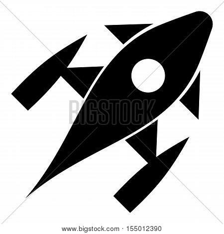 Rocket with porthole icon. Simple illustration of rocket with porthole vector icon for web