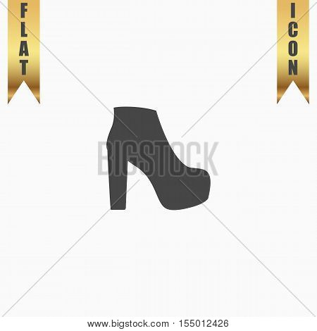 Womens shoes. Flat Icon. Vector illustration grey symbol on white background with gold ribbon