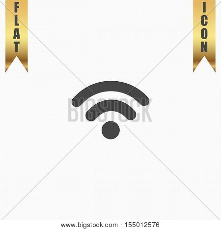 Simple Podcast. Flat Icon. Vector illustration grey symbol on white background with gold ribbon