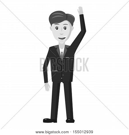 Businessman icon. Gray monochrome illustration of businessman vector icon for web