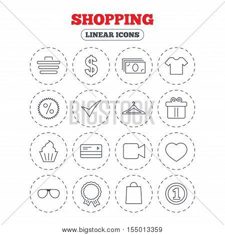 Shopping icons. Shopping cart, dollar currency and cash money. Shirt clothes, gift box and hanger. Credit or debit card. Round flat buttons with linear icons. Vector