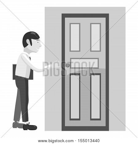Businessman opens door icon. Gray monochrome illustration of businessman opens door vector icon for web