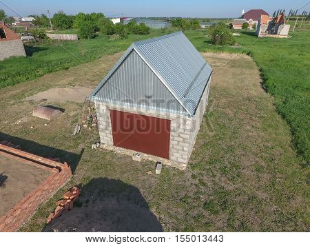 Top View Of The Garage In A Private Plot Of Land