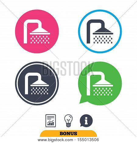 Shower sign icon. Douche with water drops symbol. Report document, information sign and light bulb icons. Vector