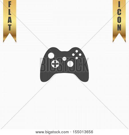 Gamepad. Flat Icon. Vector illustration grey symbol on white background with gold ribbon