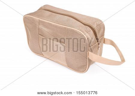 Yellow cloth carpetbag isolated on white background with soft shadow (Clipping path)