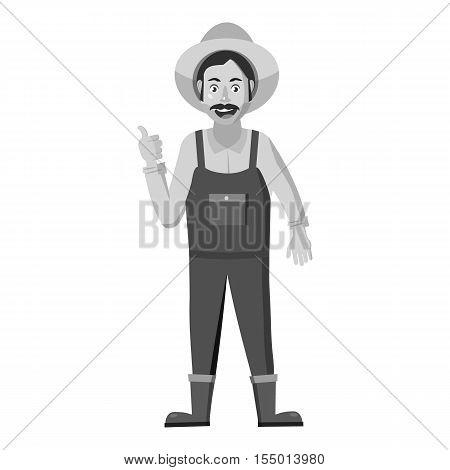 Farmer icon. Gray monochrome illustration of farmer vector icon for web