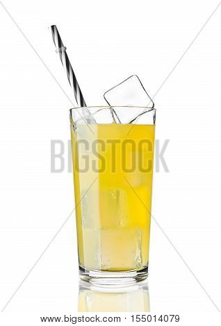 Glass of orange soda drink cold with ice cubes and straw on white background