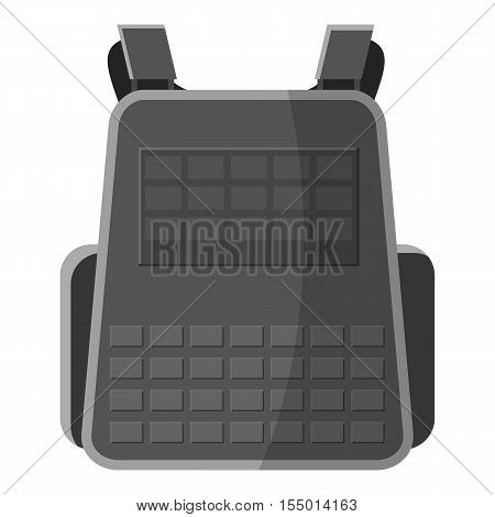 Military backpack icon. Gray monochrome illustration of military backpack vector icon for web