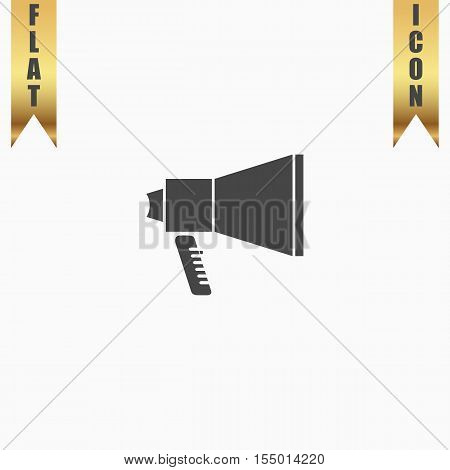 Mouthpiece. Flat Icon. Vector illustration grey symbol on white background with gold ribbon