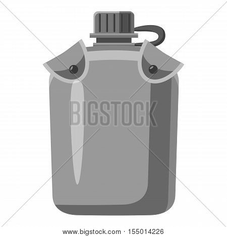 Military flask icon. Gray monochrome illustration of military flask vector icon for web