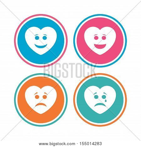 Heart smile face icons. Happy, sad, cry signs. Happy smiley chat symbol. Sadness depression and crying signs. Colored circle buttons. Vector